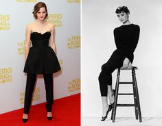 Both actresses are European-born (Emma Watson: Paris, Audrey Hepburn: Brussels), triple threats (yup, singing, dancing, and acting), and elegantly fashionable with that gamine-chic vibe. They both have serious fashion cred too: Audrey was Hubert de Givenchy's muse and had a shoe created for her by Salvatore Ferragamo, while Emma is the face of Burberry (and who knows what else in the future!). Plus, both stars can make a pixie cut look really good.