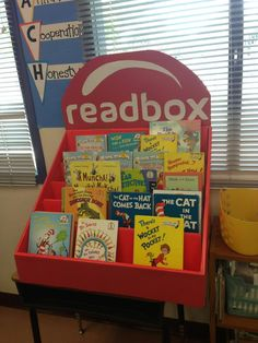 Read box made from a Scholastic book fair box.