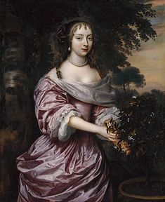"""""""Portrait of a Woman"""" by Jan Mytens (1660s) at the J. Paul Getty Museum, Los Angeles - From the curators' comments: """"Standing against a wooded landscape, an unknown woman looks out at the viewer while plucking a sprig from a fruit tree. Her pale violet silk dress that shimmers when it catches the light, her elaborately styled hair, and the pearls adorning her hair, ears, and neck identify her as a woman of status."""""""