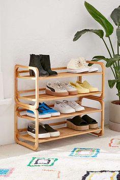 Slide View: 1: Stackable Bamboo Shoe Rack