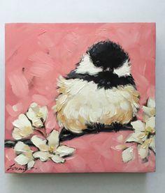 "Chickadee art, impressionistic, 5x5"" original oil painting of a Chickadee with flowers, Bird Paintings, chickadee paintings by LaveryART on Etsy"