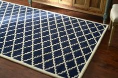 This looks like better pile type. No loops for cats to catch. Also 70% off until 9/5. All rugs on this site on sale. Savanna Lattice VE07 Dark Blue Rug | Contemporary Rugs