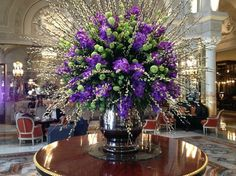 floral centerpieces for hotel lobbies | Floral arrangement in foyer - Picture of Hotel de Paris, Monte-Carlo ...