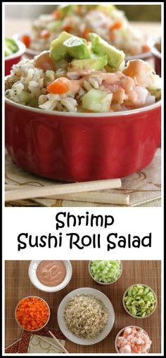 """Sushi Roll Salad with Spicy Dressing Shrimp Sushi Roll Salad with Spicy Sauce - easy way to get a sushi """"fix"""" and no rolling is involved!Shrimp Sushi Roll Salad with Spicy Sauce - easy way to get a sushi """"fix"""" and no rolling is involved! Sushi Recipes, Asian Recipes, Cooking Recipes, Healthy Snacks, Healthy Eating, Healthy Recipes, Seafood Dishes, Seafood Recipes, Salads"""
