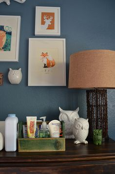 Owls and foxes Nursery Themes, Room Themes, Nursery Room, Themed Nursery, Baby Boy Rooms, Baby Boy Nurseries, Baby Room, Woodland Bedroom, Nursery Neutral