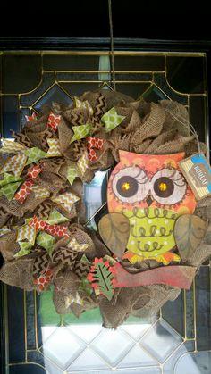 Fall burlap wreath  Fall wreath  Owl wreath  by PeaceLoveBurlap, www.peaceloveburlap.etsy.com