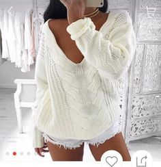 Cheap jumper house, Buy Quality sweater knit fabric yard directly from China jumper plain Suppliers: Womens Autumn Long Sleeve Sweater Pullover Ladies Sexy Deep V Neck Solid Loose Hollow Knitted Knitwear Jumper Sweter Mujer White Casual Sweaters, Winter Sweaters, Cable Knit Sweaters, Casual Tops, Pullover Sweaters, Sweaters For Women, White Casual, Off Shoulder Sweater, Woman Clothing