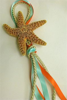 Beach Wedding Decor - Large Starfish Chair Decoration Aisle or Pew Marker with your choice of TWO Ribbon Colors via Etsy