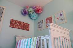 aqua, pink, purple, turquoise, gray girl's nursery