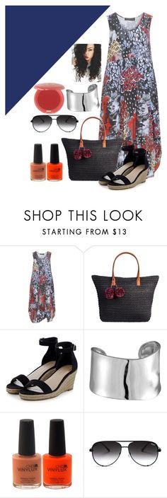 """""""plus size dress set"""" by skylovessave ❤ liked on Polyvore featuring Champagne, Merona, Lord & Taylor, Quay and Stila"""