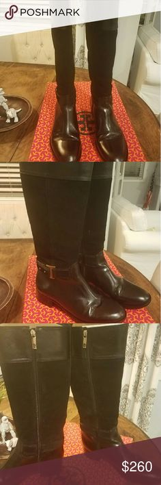Tory Burch Tenley Black Leather/Suede Riding Boot Tory Burch Tenley Suede and Leather Riding Boots in AMAZINGLY AWESOME CONDITION   Classic Tory Burch boot brings equestrienne polish to your favorite jeans, skinny pants, and mid-calf skirts.  Tone-on-tone suede and leather construction.  Buckled harness strap.  Side zip; pull loop.  Slope-top shaft.  Stacked heel.  Color: Black SZ 11 These boots have recently been cleaned, polished and the soles and heels replaced. They look brand new! (see…