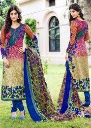 Casual Wear Multi Colour Pashmina Printed Churidar Suit
