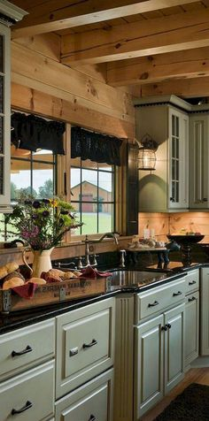 Rural Kitchen Cabinet Makeover Rural Kitchen Cabinet Makeover Ideas Wood and glass kitchen cabinets 04 Wood countertop Awesome Farmhouse Kitchen Ideas 18 Log Cabin-home Decoration Ideas More . Log Cabin Kitchens, Log Cabin Homes, Log Cabins, Log Cabin Bathrooms, Country Kitchen Farmhouse, Modern Farmhouse Kitchens, Rustic Kitchen, Kitchens Uk, Distressed Kitchen