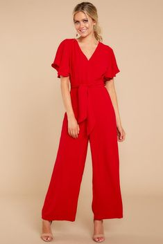21b8773c847 Enjoy This More Red Jumpsuit Red Dress Outfit Casual