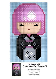 Kimmidoll Tamami gorgeous hama beads pattern, for Nicole ; Hama Beads Patterns, Loom Patterns, Beading Patterns, Miyuki Beads, Fuse Beads, Perler Beads, Loom Bands, Beaded Cross Stitch, Cross Stitch Embroidery