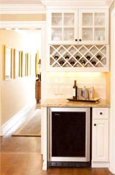 Wine bar/wine fridge Classic Traditional Kitchen by Sheila Jones Home Renovation, Home Remodeling, Kitchen Remodeling, Built In Microwave Cabinet, Built In Bar Cabinet, Small Cabinet, Wine Rack Cabinet, Kitchen Wine Racks, Bar In Kitchen