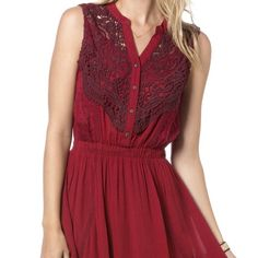 NWT Miss Me Trail Blazer Dress A gathered waist defines the silhouette of a sleeveless dress styled with delicate crochet trim, lace detail, and button-up bodice. 100% Rayon Gentle Hand Wash Cold Miss Me Dresses Midi