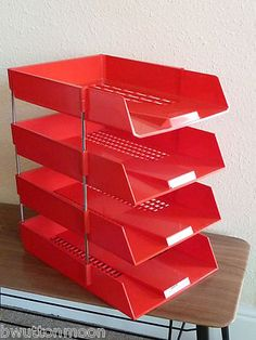 Vintage retro 70s 80s Myers office desk Duet letter trays paper files in red A4