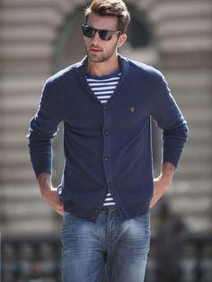 striped t-shirt and cardigan