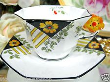 MELBA FLOWER HANDLE   Tea cup and saucer ART DECO