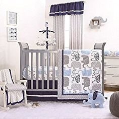 Crib bedding sets make the nursery perfect. Welcome the new arrival with crib bedding sets for girls and crib bedding sets for boys from buybuyBABY. Get sweet baby crib bedding sets - buy now Elephant Crib Bedding, Baby Boy Crib Bedding, Baby Boy Cribs, Nursery Bedding Sets, Baby Boy Rooms, Baby Room, Elephant Nursery Boy, Chevron Bedding, Babies Rooms