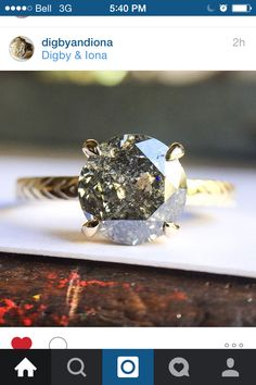 Digby and Iona amazing salt and pepper diamond ring