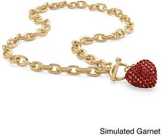 PalmBeach Crystal Heart Charm Birthstone Toggle Necklace in Yellow Gold Tone Color Fun