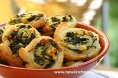 Blätterteigschneckchen mit Spinat und Fetakäse