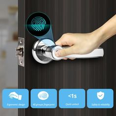 Golden Security Left Right Handle Smart Unlock 360 Degree Fingerprint Door Lock Home Security Anti-theft Access control system Golden Security Left Right Handle Smart Unlock 360 Degree Fingerprint – Slabiti Design Social, Smart Door Locks, Access Control, Control System, Home Technology, Newest Technology, Red Led, Key Design, Home Pictures