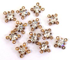 12 Vintage ss22 (4.9-5.1mm) Swarovski 4 Loop Prong Set Clear Crystal Rhinestone Connectors, Antique Gold Color/Gold Plated Settings Art. 591...