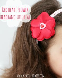 Red heart flower headband for Valentine's Day – tutorial