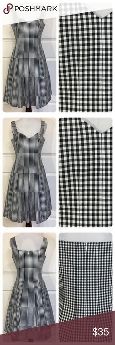 White House Black Market gingham dress Fun and flirty black and white gingham dress from White House Black Market. Beautifully constructed. Fitted waist with Full pleated skirt. Side pockets. No flaws noted. White House Black Market Dresses