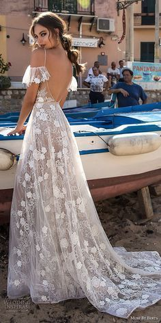 muse berta 2018 bridal spaghetti strap cold shoulder v neck full embellishment romantic soft a line wedding dress open back sweep train bv -- Muse by Berta 2018 Wedding Dresses braut, Muse by Berta 2018 Wedding Dresses — Sicily Bridal Campaign Wedding Dress Black, Fall Wedding Dresses, Wedding Dress Styles, Wedding Gowns, Cold Shoulder Wedding Dress, Autumn Wedding Outfit, Bobo Wedding Dress, Wedding Dress Casual, Spring Wedding