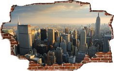 Zapwalls Decals Breaking Wall New York City Skyline