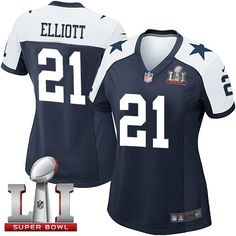 0099562c066 Nike Dallas Cowboys Women's #21 Ezekiel Elliott Elite Navy Blue Alternate  Super Bowl LI Throwback