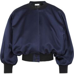 Victoria, Victoria Beckham Duchesse-satin bomber jacket ($1,115) ❤ liked on Polyvore featuring outerwear, jackets, bomber jacket, blue, blouson jacket, blue cropped jacket, puff sleeve jacket, cropped jacket and blue jackets