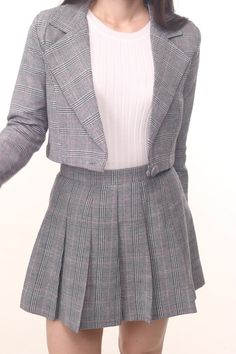 Image of Cher Blazer Set In Grey Plaid Clueless Fashion, Clueless Outfits, Preppy Outfits, Skirt Outfits, Stylish Outfits, Cool Outfits, Blazer Outfits, Blazer Fashion, Fashion Outfits