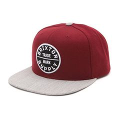 Brixton Oath III Snapback in Red Light Grey bij Revert 95 Snap Backs 143194331e90