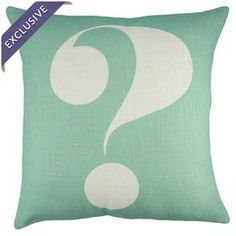 "Mint and ivory linen pillow with a question mark design. Handmade in the USA.  Product: PillowConstruction Material: LinenColor: Mint and ivoryFeatures:  Handmade by TheWatsonShop in the USAInsert included Dimensions: 16"" x 16""Cleaning and Care: Dry clean recommended"