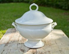 "French vintage white soup tureen ""soupiere""."