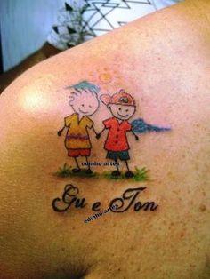Resultado de imagem para boneco palito tattoo Name Tattoos, Tatoos, Mother Tattoos, Chest Tattoo, Watercolor Tattoo, Ink, Girls, Thigh Tat, Tattoo For Son