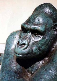 Resin and steel Primate #sculpture by #sculptor Lucy Kinsella titled: 'Gorilla (Bronze resin Seated thinking life size)' #art