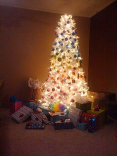 Rainbow Christmas tree last year. The star was too big for the top of it.