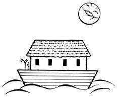 Catholic Coloring Page: Noah's Ark. Color online in our interactive coloring book, or print them for later. Noahs Ark Theme, Noahs Arc, Preschool Lesson Plans, Preschool Themes, Jonah And The Whale, Online Games For Kids, Thing 1, Book Suggestions, Black And White Drawing