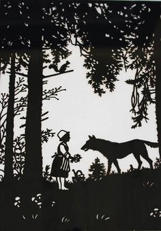 1950s Little Red Riding, Red Riding Hood, Vintage Silhouette, Sketch Painting, New Pictures, Paper Cutting, Fairy Tales, Picture Frames, Moose Art