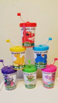 Sesame Street Personalized Do It Yourself Party Favor Cups Set of 6 DIY Elmo Big Bird Cookie Monster Oscar Abby Cadabby Count Birthday Treat Cups