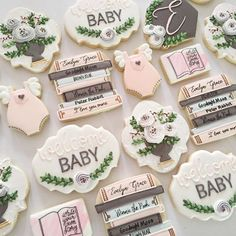 Stacks of books, flowers, and a little girl... what more do you need in life? Set inspired by a #minted invitation. #decoratedcookies #cookies #sugarcookies #books #bookstack #floral #centerpiece #babyonesie #babygirl #welcomeparty #babyparty #cookiedecorator #royalicing #foodtrend #trendydesserts #snickerdoodlesweets #gilroy #bayareasweets #bayareadecorator
