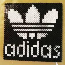 Adidas logo perler beads by zhikorina Plastic Bead Crafts, Plastic Beads, Pixel Art, Perler Patterns, Beaded Animals, Knitting Socks, Perler Beads, Beading Patterns, Cross Stitch