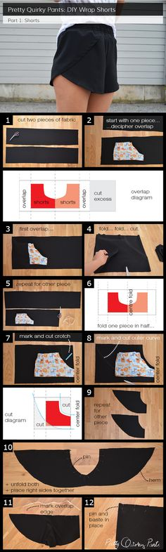 Instruction Layout - wrap shorts Cortes y Costura moda fashin sew costura roupas patrones free pattern moldes gratis