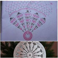 Lampe Crochet, Crochet Pouf, Crochet Ball, Crochet Doilies, Diy Crochet Patterns, Christmas Crochet Patterns, Crochet Chart, Crochet Stitches, Crochet Projects